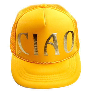 "Trucker Hat Golden Yellow ""CIAO"" in Gold Foil"