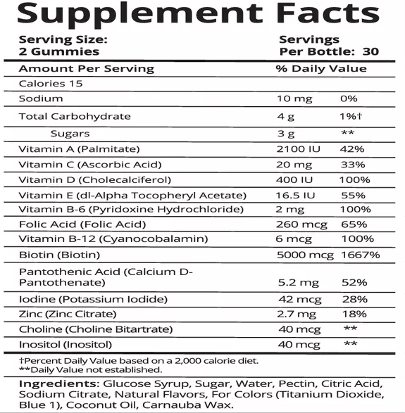 Fitbabe Hair gummy supplement facts