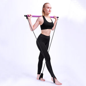 Fitbabe Portable Pilates Bar Kit Resistance Band Yoga Exercise Foot Loop Toning Bar Yoga Pilates for Yoga Stretch Twisting Sit-Up Bar
