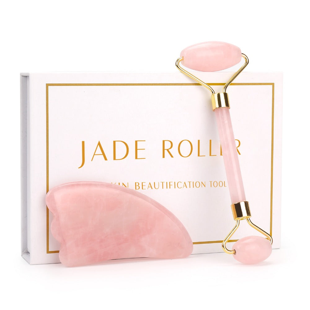 Fitbabe Rose Quartz Roller Slimming Face Massager Lifting Tool Natural Jade Facial Massage Roller Stone Skin Massage Beauty Care Set Box
