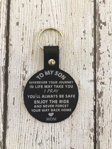 To My Son Keychain Gift
