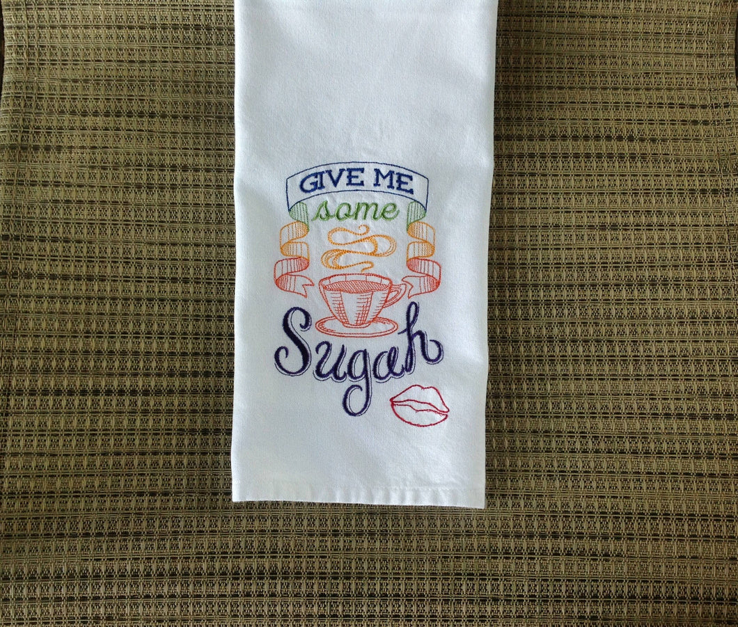 Give Me Some Sugah Embroidered White Kitchen Hand/Dish Towel Home Decor