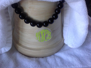 Personalized Monogram Oversized Bead  Necklace Pendant