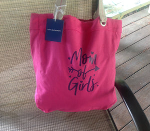 Mom of Girls Beach Shopping Tote Hot Pink Bag Birthday Mothers Day Christmas Gift
