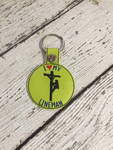 Load image into Gallery viewer, Love My Lineman Embroidered Keychain, Lineman Embroidered Keychain, Embroidered Lineman Keychain, Love My Lineman Gift Ideas For Her