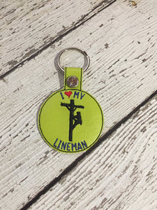 Love My Lineman Embroidered Keychain, Lineman Embroidered Keychain, Embroidered Lineman Keychain, Love My Lineman Gift Ideas For Her