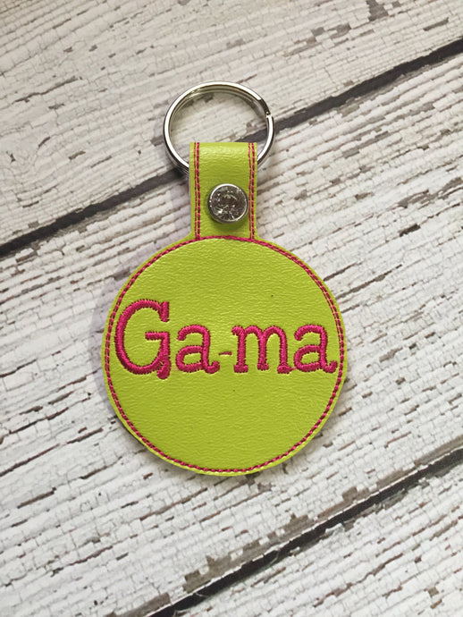Gama Embroidered Personalized Pink Vinyl / Leather with Rhinestone Rivet Key Chain Mother's Day Birthday