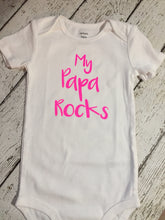 Load image into Gallery viewer, Papa Baby Bodysuit, Papa Rocks, Baby Shower Gift, Newborn Baby Gift, Baby Boy Gift, Baby Girl Gift, Papa Rocks Bodysuit