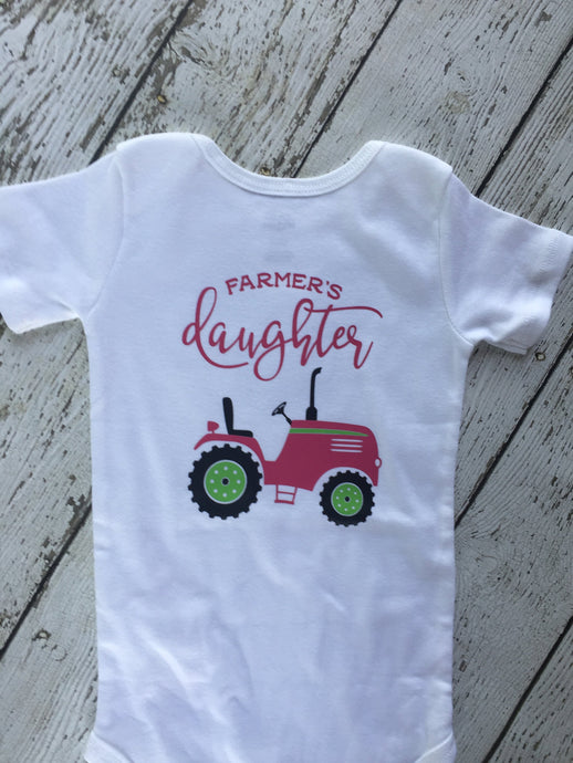 Farmers Daughter Pink Tractor Bodysuit, Pink Tractor Bodysuit Farmers Daughter, Farmers Daughter Bodysuit Pink Tractor, Farm Girl Outfit