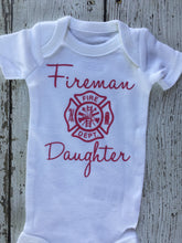 Load image into Gallery viewer, Firemans Daughter Baby Outfit, Baby Outfit Firemans Daughter, Firemans Daughter Outfit Baby, Firemans Daughter Baby Gift, Baby Shower Gift