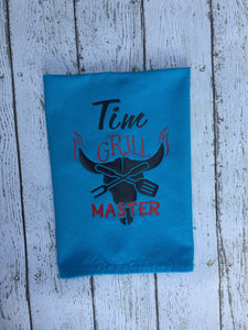 Personalized Outdoor Grill Master Towel, Outdoor Grill Master Personalized Towel, Personalized Grill Master Outdoor Towel, Father Gift Idea