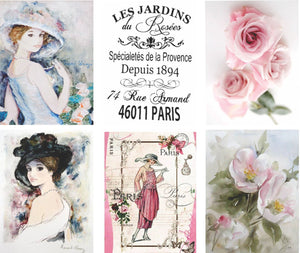 "French Roses Vintage Journal Cards - 4 A4 papers 2 with 6 3x4"" per paper, Digital"