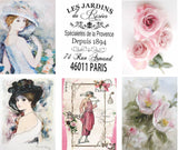 "French Roses Vintage Journal Cards - 4 A4 papers 2 with 6 3x4"" per paper, Printed"