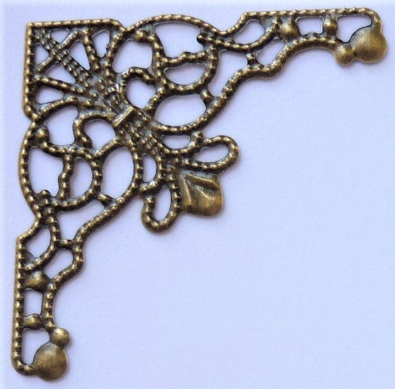 Corner Filigree Hardware, 3.5cm, Brass, 4 per pk