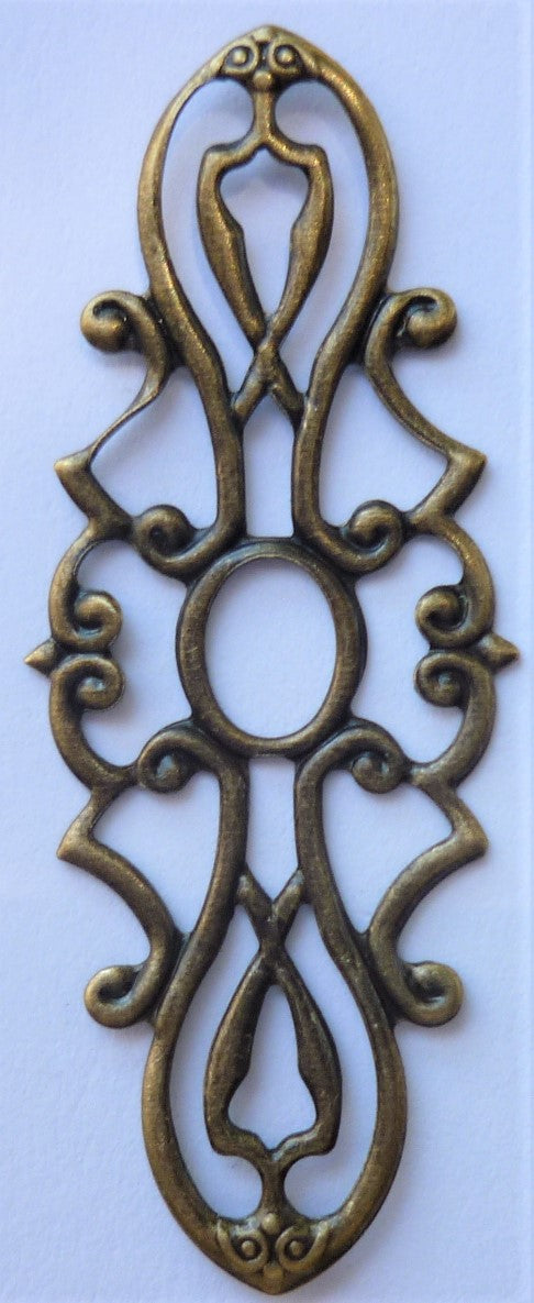 Filigree Trinket Strip, Brass, 1.4x5.3cm