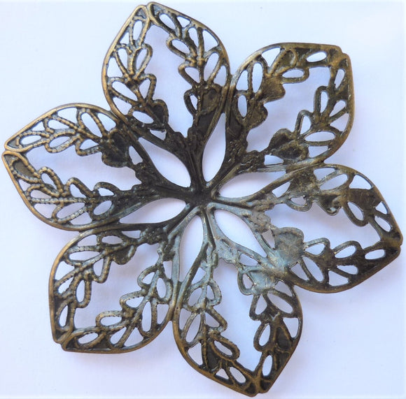 Flower Filigree Trinket, Brass, 4.3cm