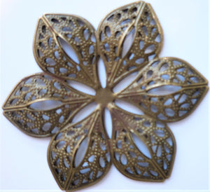 Large Flower Filigree Trinket, Brass - 6cm diameter