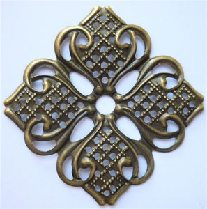 Square Filigree Trinket, Brass, 3.5cm