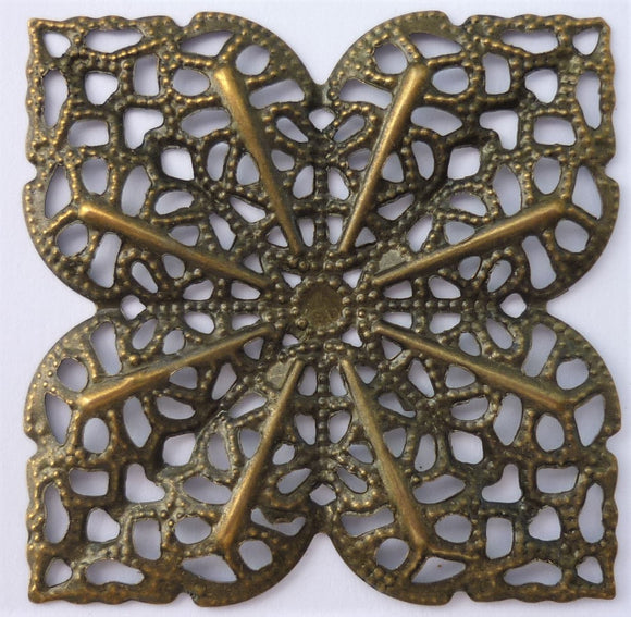 Square Flower Filigree Trinket, Brass, 5cm