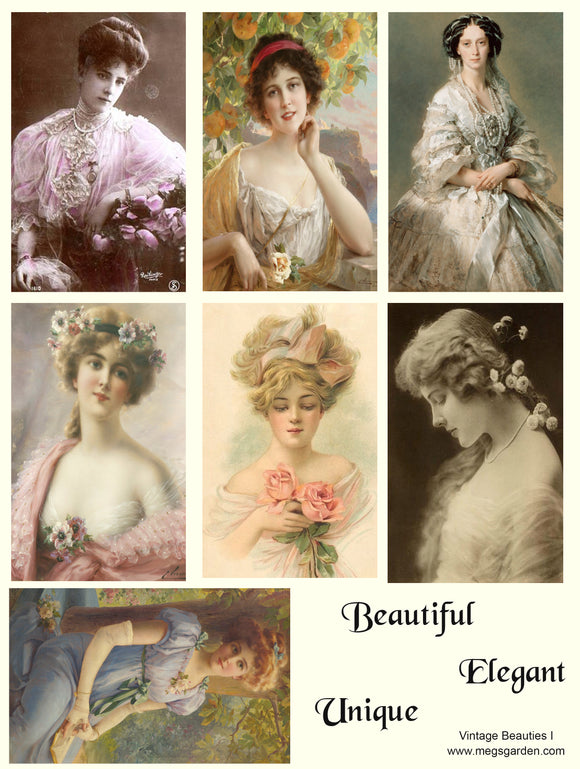 Vintage Beauties - 6 A4 Papers, 34 Beauties, Digital