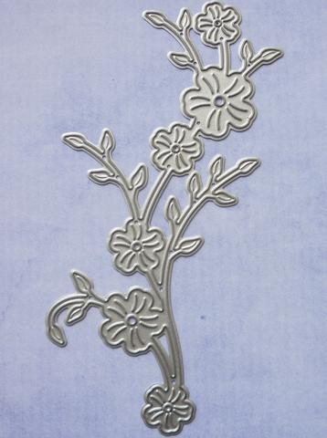 Branch with Flowers Die - 11.5cm long x 5.5cm wide, flowers are 1.3cm
