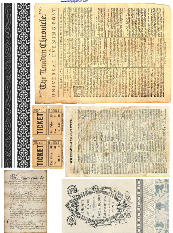 Vintage Junk Journal Cut & Create Images - 6 A4 Papers, Printed