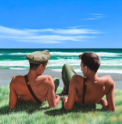 Ross Watson artwork of two shirtless soldiers wearing a Sam Brown sharing an intimate moment on a beach