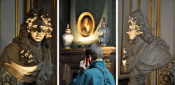 Ross Watson triptych photograph of dramatically lit antique stone bust of man with central panel tourist using mobile phone