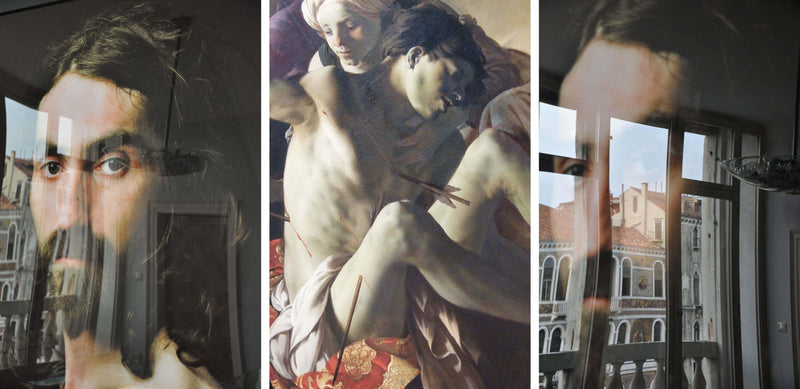 Ross Watson triptych photograph of blurred portrait of mans head and central image of painting of man shot with arrows