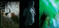 Ross Watson triptych photograph of peeled posters, roman sculpture bust and green blur