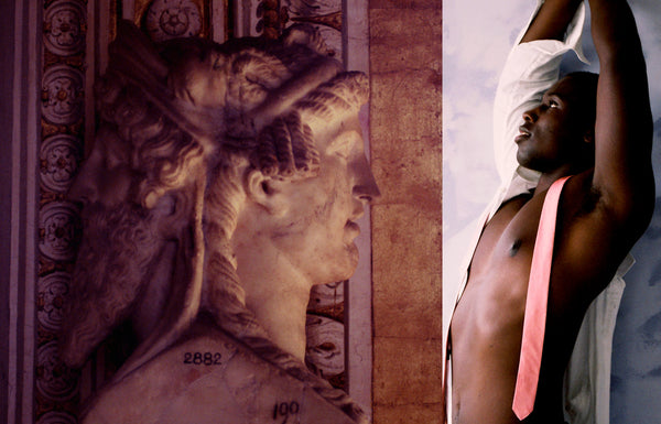 Ross Watson diptych photograph of ancient marble head and black model with pink tie and white shirt