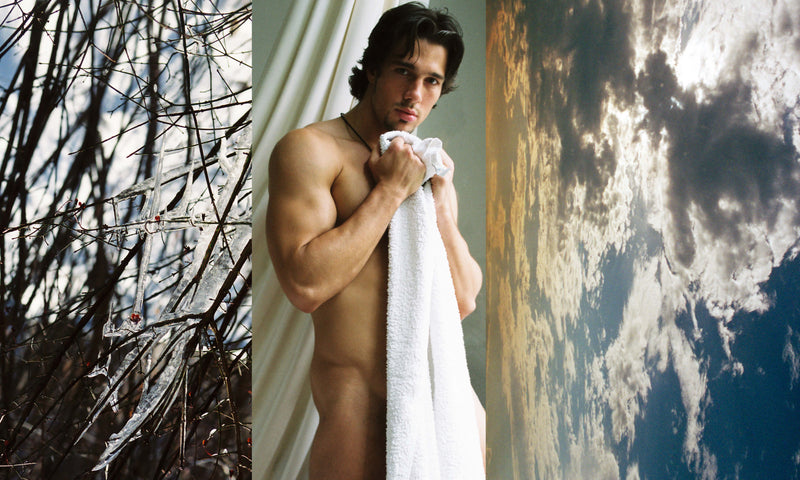 Ross Watson tiptych photograph of naked man holding towel, ice covered branches and sky