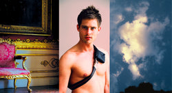 Ross Watson triptych photograph of shirtless man, red antique chair and cloudy sky