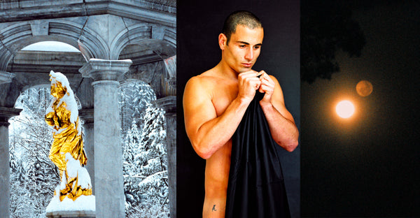 Ross Watson triptych photograph of Paul Licuria flanked by gold statue in snow and moon