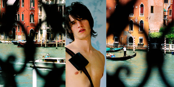 Ross Watson triptych photograph of long haired shirtless man with lattice obscured views of venice either side
