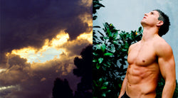 Ross Watson diptych photograph of shirtless footballer brodie holland next to cloudy sky