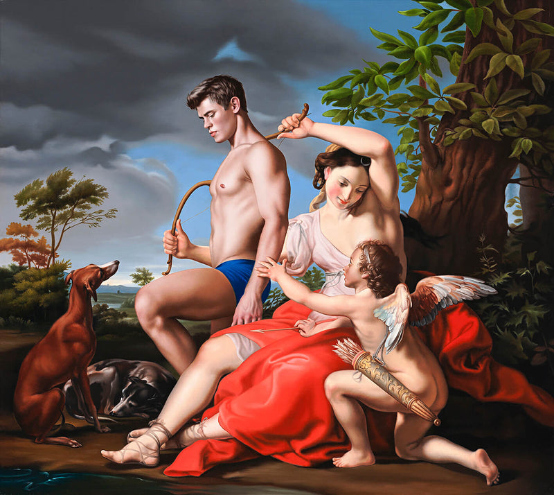 Ross Watson painting of classical setting incoporating Batoni's Diana and Cupid from the Metropolitan Museum with Bel Ami's Dolph Lambert