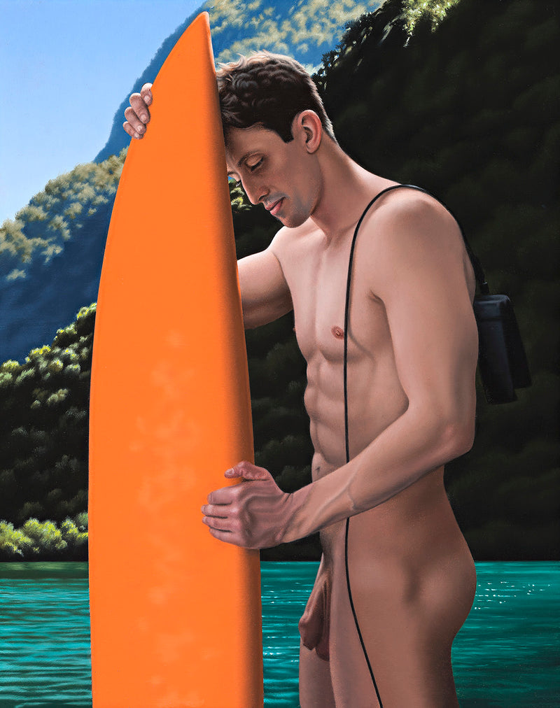 Ross Watson painting of a toned naked man standing side on holding an orange surfboard in from of a backdrop of mountans and calm water