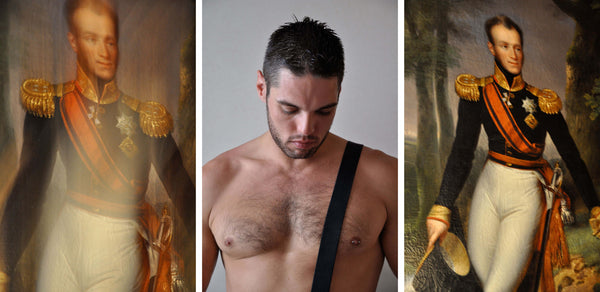 Ross Watson triptych photograph of British formally dressed soldier on left and right panel, with a shirtless young man with a hairy chest and shoulder strap in the middle panel