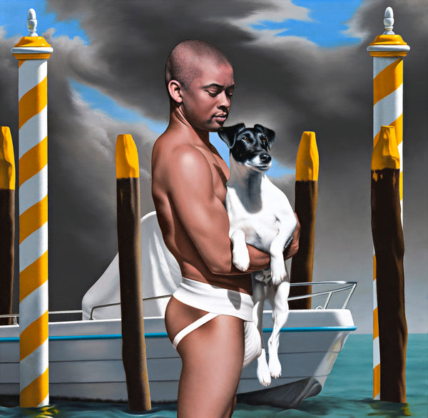 Original Ross Watson painting of a man wearing a white jock strap holding a white fox terrier with a black head in front of a small boat between yellow and white Venetian mooring poles