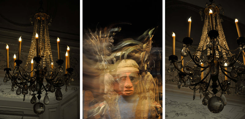 Ross Watson triptych photograph. Left and right panels of chandeliers and central panel of blurred image of tribal mask