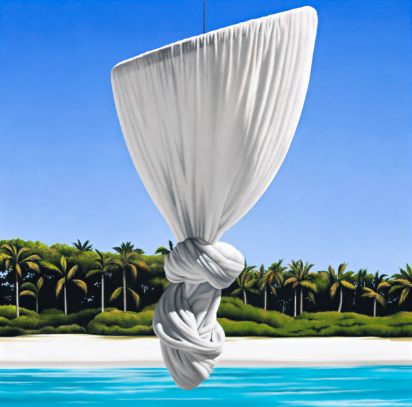 Ross Watson painting of knotted mosquito net floating in front of palm tree lined white sand beach