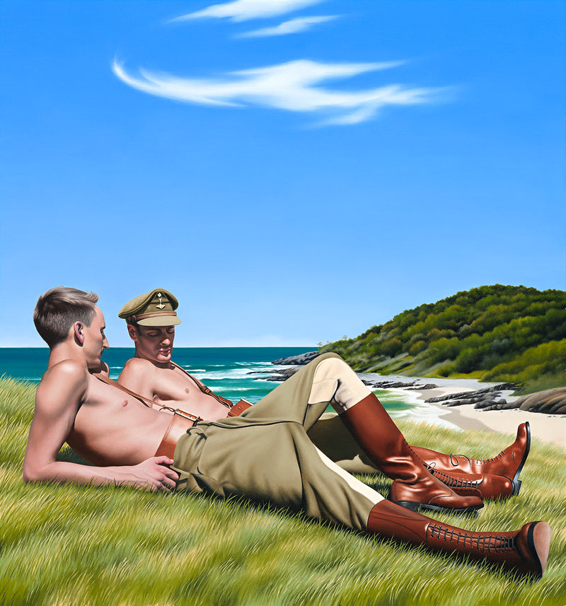 Original Ross Watson oil painting of two shirtless world war 1 soldiers reclining on beach headland