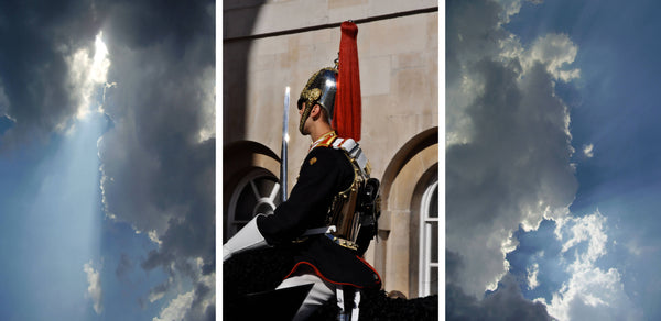 Ross Watson triptych photograph of clouds and Blues and Royal household cavalry soldier on horseback