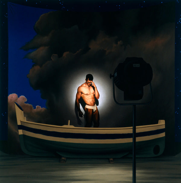 Ross Watson painting of Ian Roberts wearing a white jockstrap shielding his eyes in spotlight in front of painted theatre backdrop of stormy sky and a wooden boat in the foreground