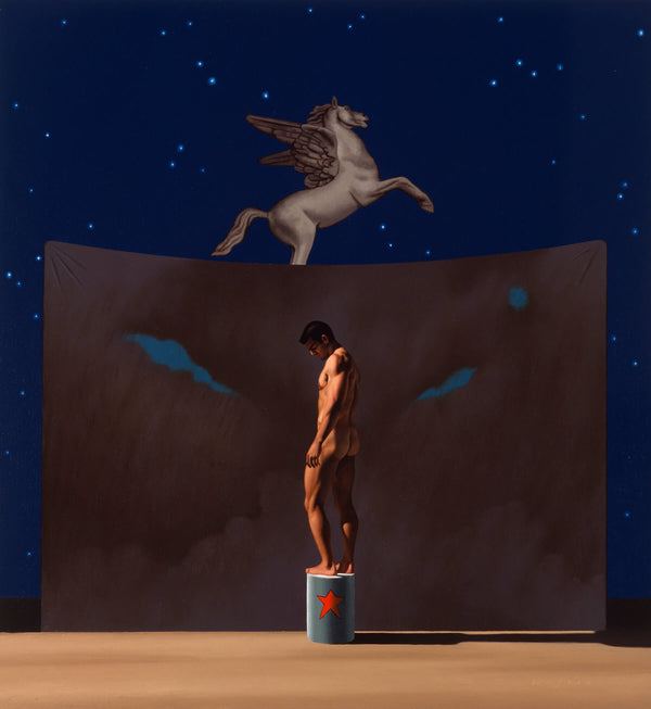 Ross Watson painting of Ian Roberts naked looking downward stading on drum with red star in front of theatre backdrop behind which a winged horse is flying in the night sky