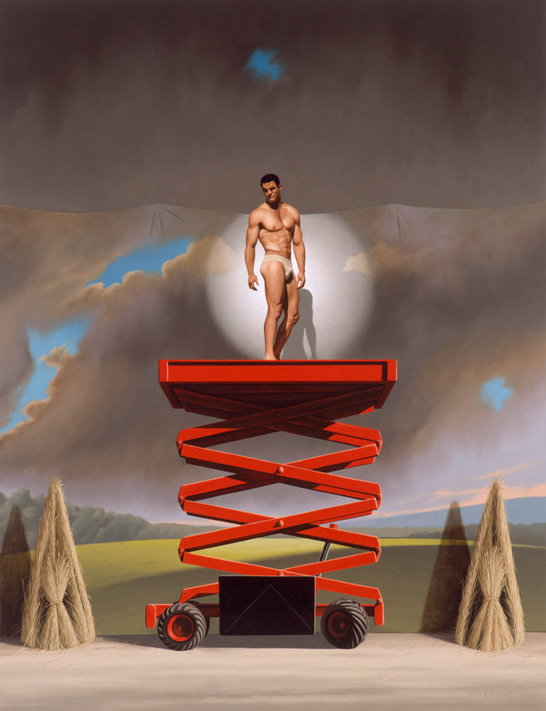 Ross Watson painting of Ian Roberts wearing a white jock strap standing on a red raised scissor lift in spot light in front of painting set back drop of stormy sky with two haystack either side of scissor lift