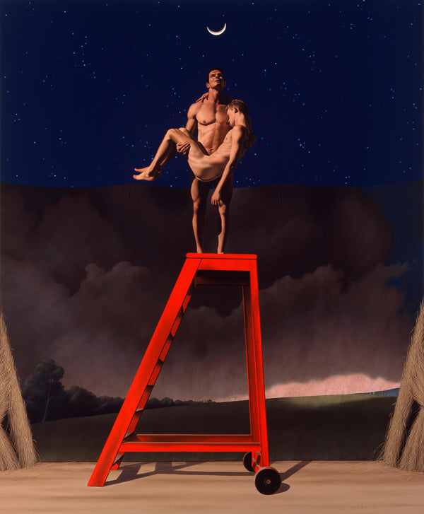 Ross Watson painting of naked ian roberts holding another naked man standing on top of red ladder in front of theatre backdrop of stormy sky with two hay stacks either side
