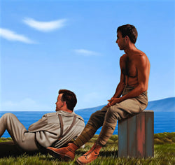 Ross Watson painting of two soldiers, one shirtless seated on crate the other fully dressed lying on grass