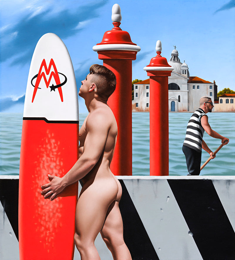 Ross Watson painting of a muscular naked surfer holding a red and white surfboard in front of a black and white striped barrier with a view of Venice featuring two red poles and a gondolier